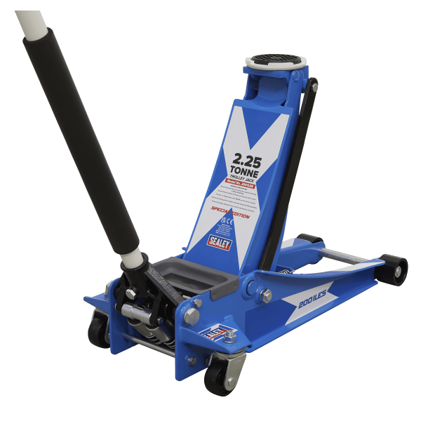 Sealey Trolley Jack 2.25 Tonne Low Entry Rocket Lift with St. Andrew's Cross Flag