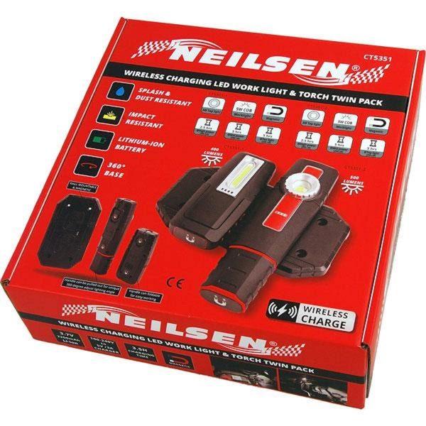 Neilsen Wireless Charging Led Work Light & Torch Twin Pack